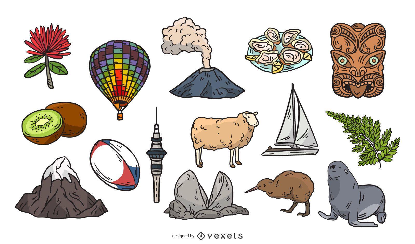 New Zealand hand drawn elements