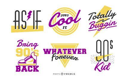 Conjunto de letras retro de los 90