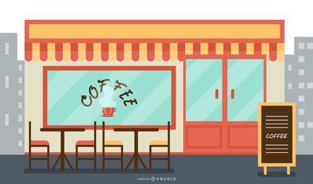 Ilustración plana de cafetería
