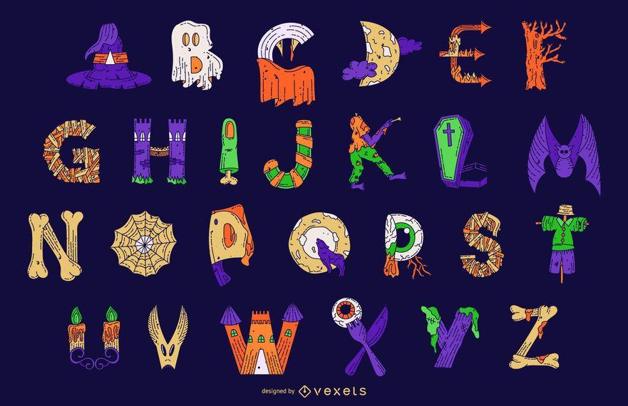 Conjunto de vetores de letras do alfabeto colorido de Halloween