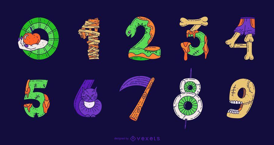 Conjunto colorido del vector del número de Halloween