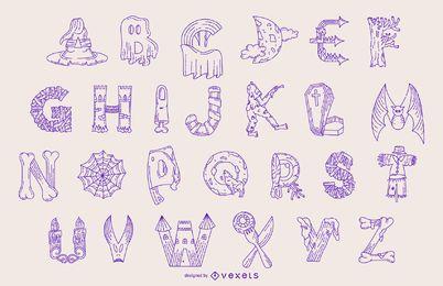 Conjunto de línea de alfabeto de Halloween