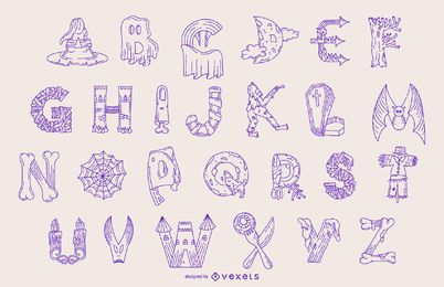 Conjunto de linha de alfabeto de Halloween