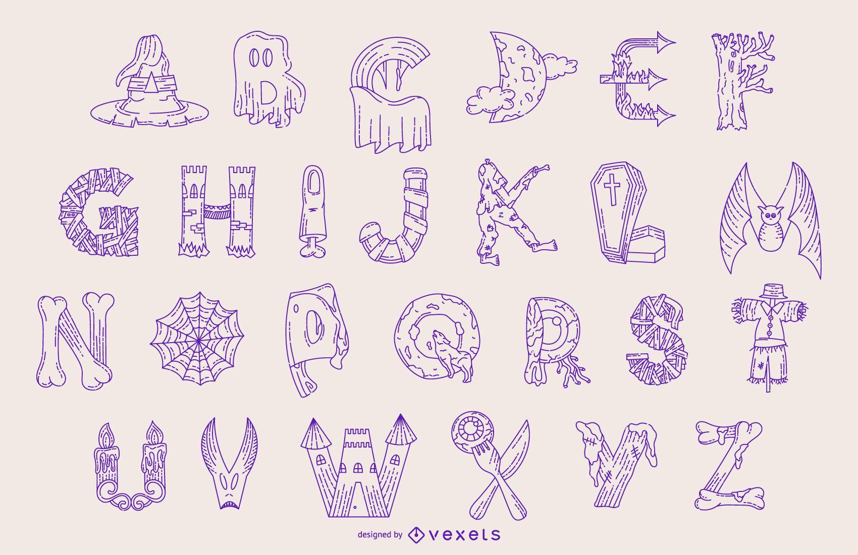 Halloween alphabet line set