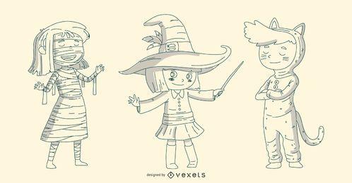 Conjunto de linha de crianças de Halloween