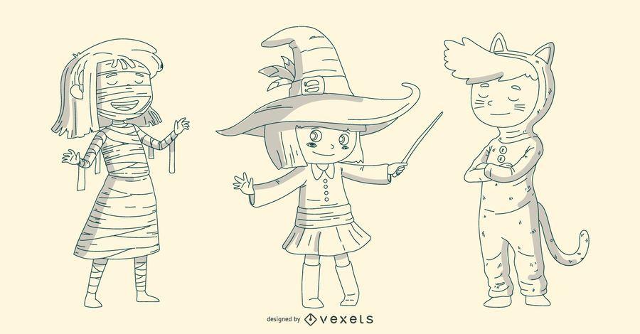 Conjunto de línea de niños de Halloween