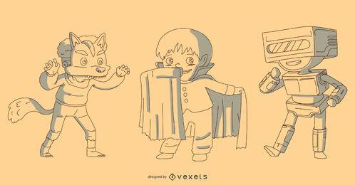 Conjunto de vectores de disfraces de niños de Halloween