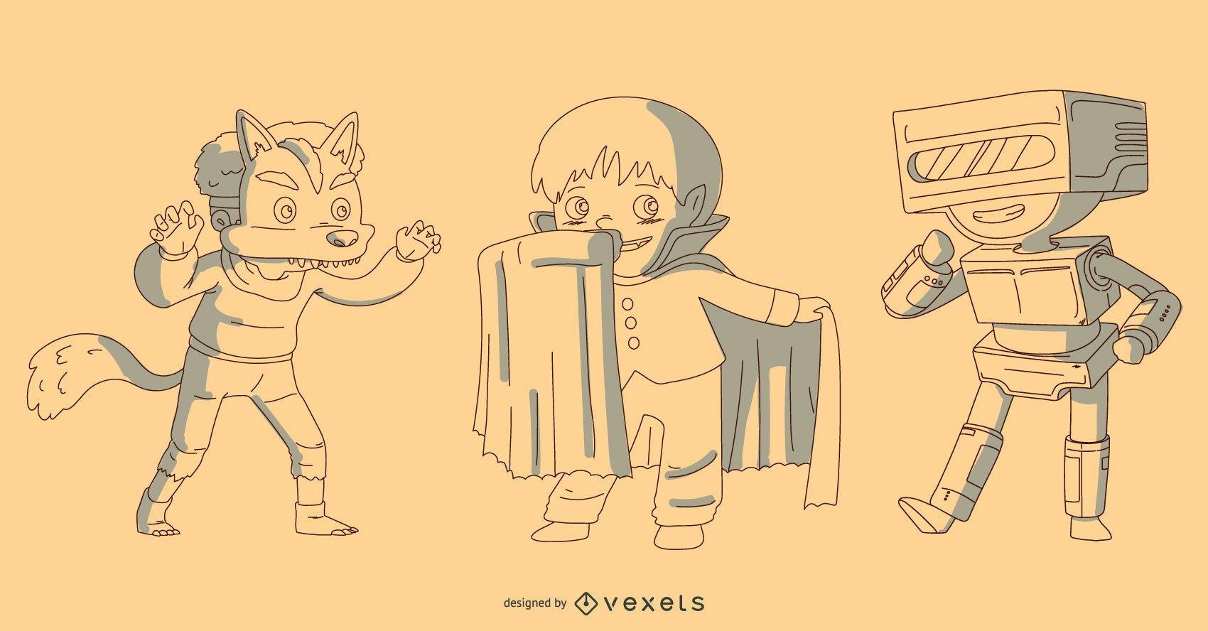 Halloween Kids Costume Vector Set