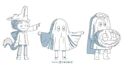 Conjunto de vetores de crianças de traje de Halloween