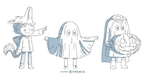 Halloween Costume Kids Vector Set