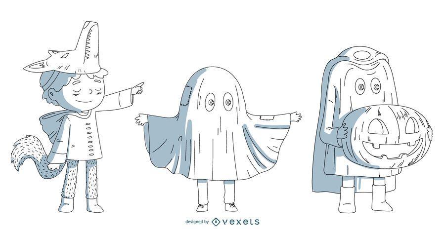 Conjunto de vectores de niños de disfraces de Halloween