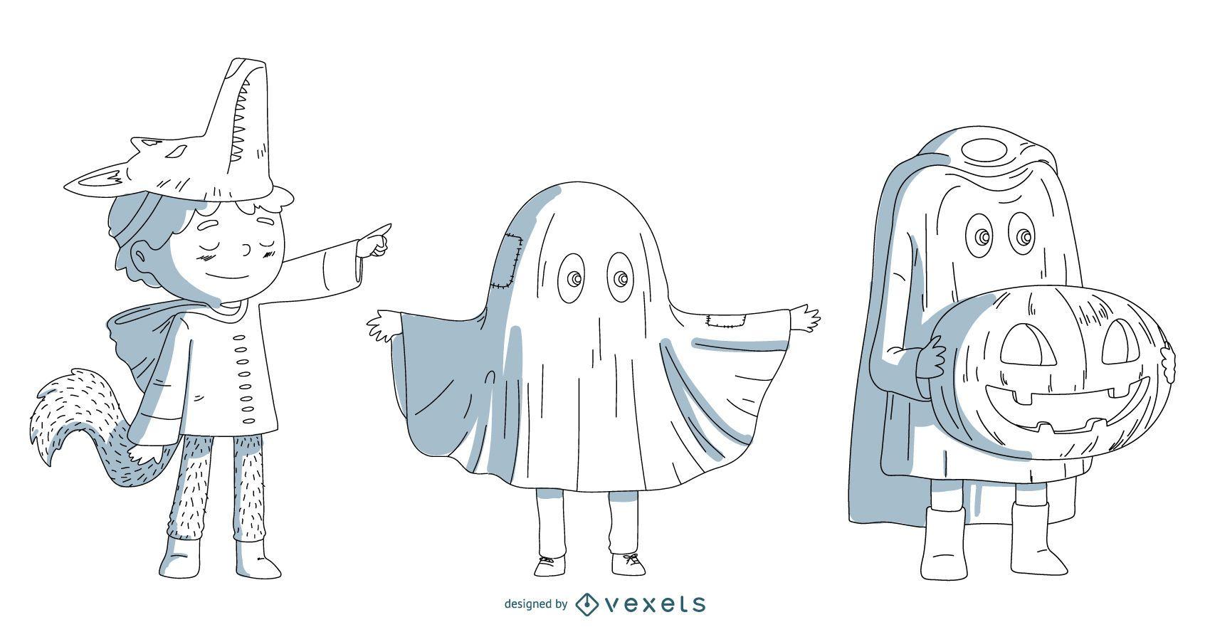 Halloween Costume Kids Vector Set