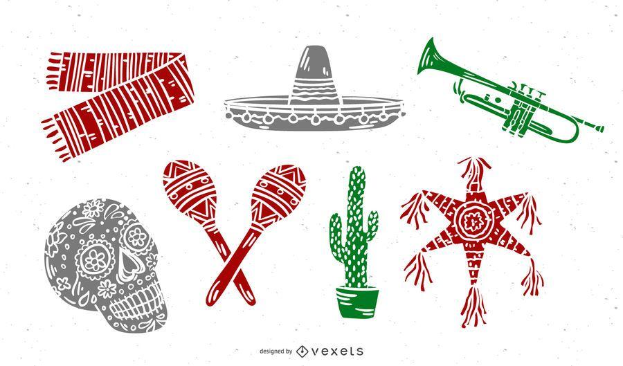 Conjunto de silueta de elementos culturales mexicanos