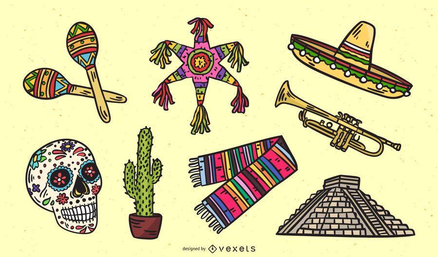 Mexican cultural elements set