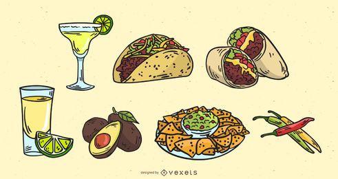 Conjunto de vectores de comida mexicana