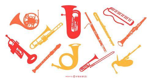 Conjunto de silueta de instrumentos de música de viento