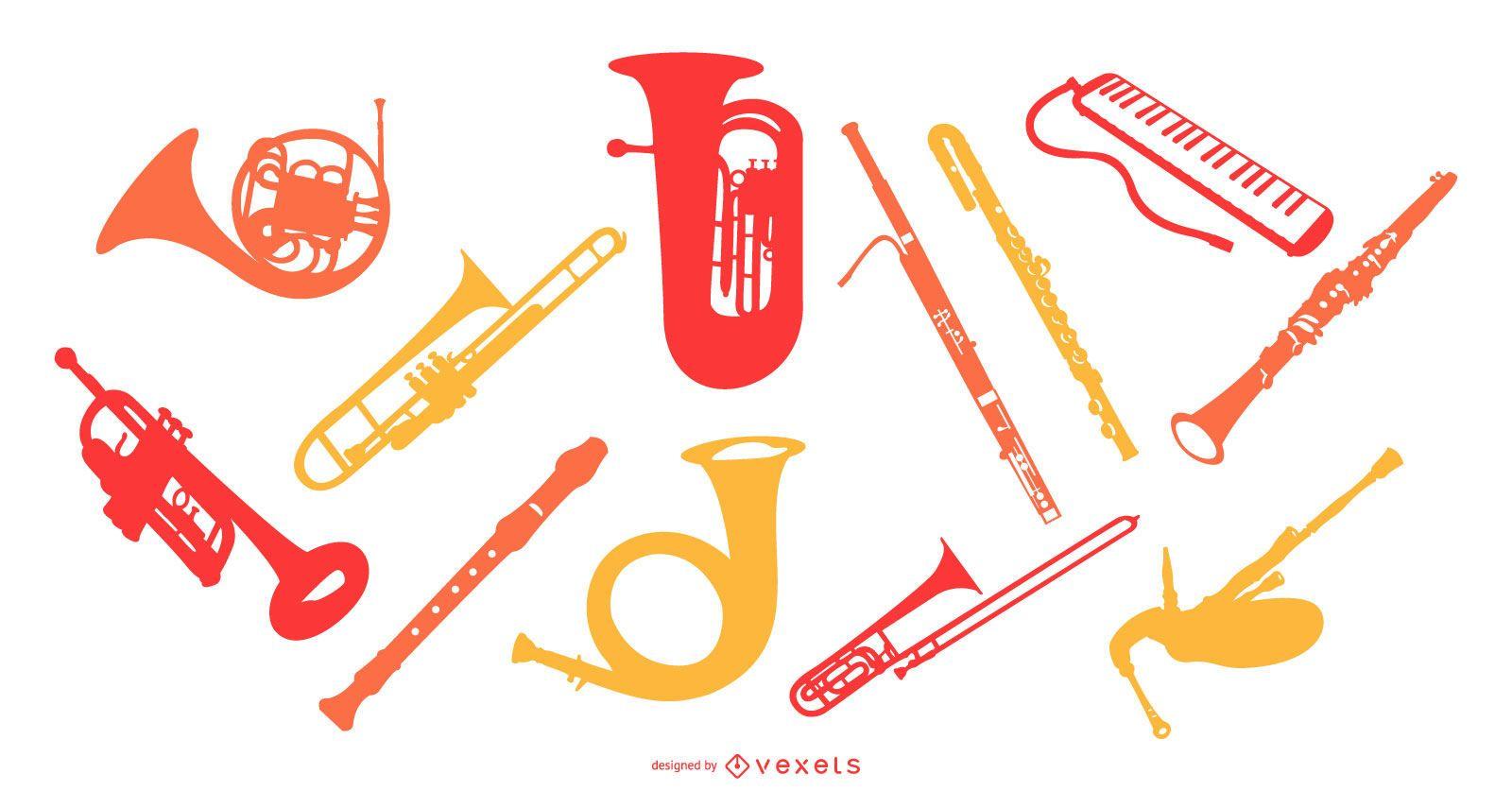 Wind Music Instrument Silhouette Set