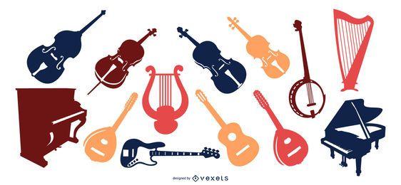 Conjunto de vectores de silueta de instrumentos de cuerda
