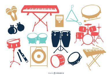 Conjunto de silhueta de instrumento musical colorido
