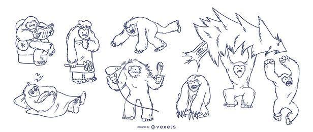 Yeti conjunto dibujado a mano