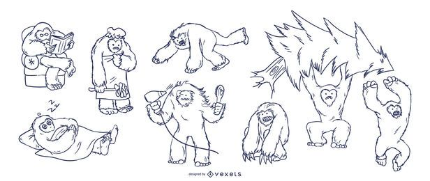 Yeti hand drawn set