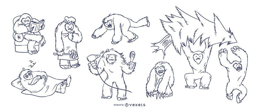 Conjunto de mão desenhada Yeti