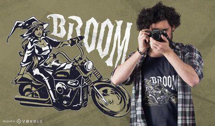 Diseño de camiseta de bruja de moto