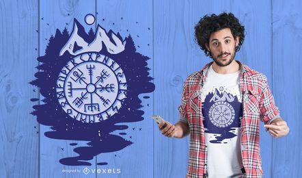 Projeto do t-shirt do compasso de Viking
