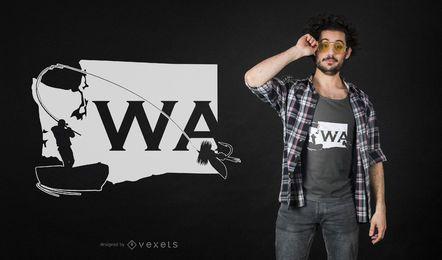 Diseño de camiseta de pesca con mosca del estado de Washington