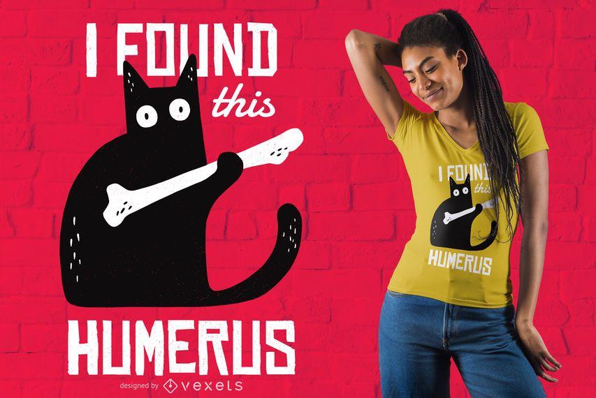 Diseño divertido de la camiseta del gato