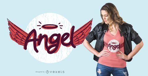 Projeto do t-shirt da rotulação do anjo