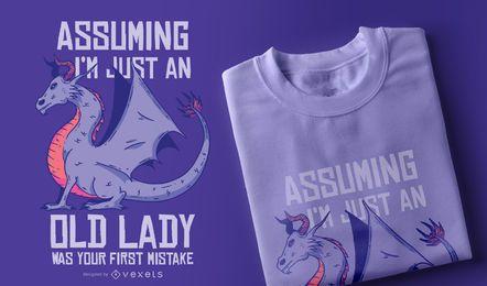 Senhora idosa, t-shirt, desenho