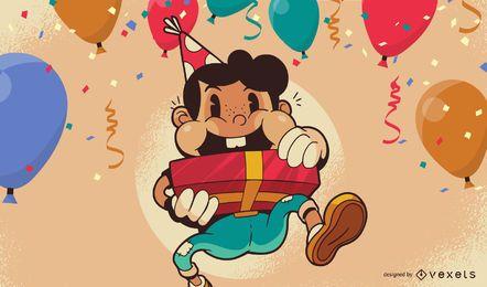 Diseño de fondo de ilustración de niño de cumpleaños