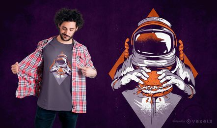 Projeto do t-shirt do hamburguer do astronauta