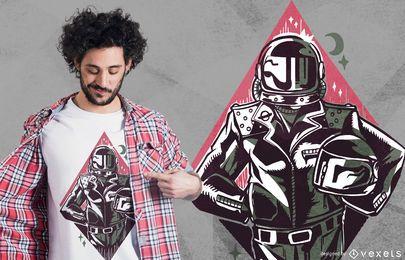 Projeto do t-shirt do motociclista do astronauta