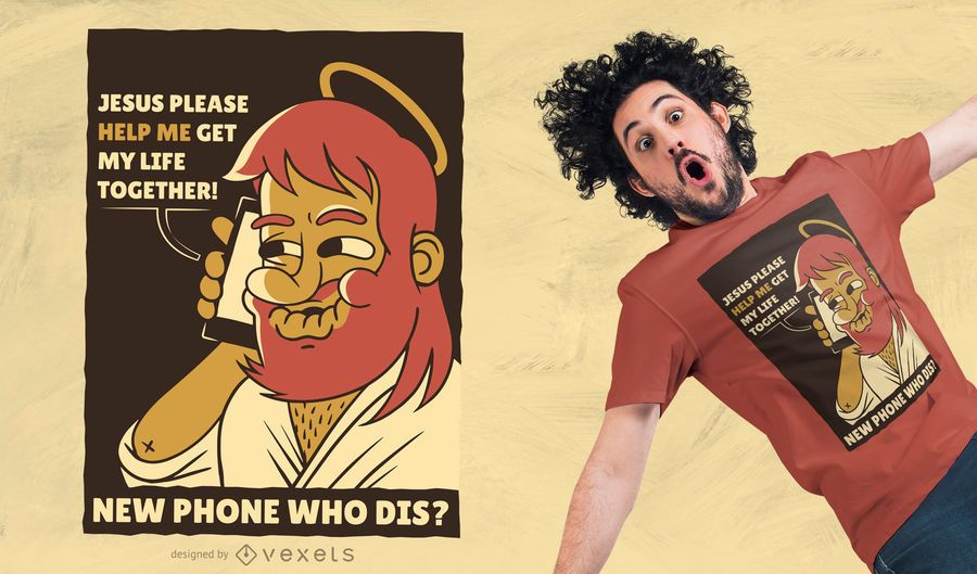 Telefon Jesus T-Shirt Design