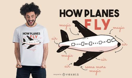 Como os aviões voam o projeto do t-shirt