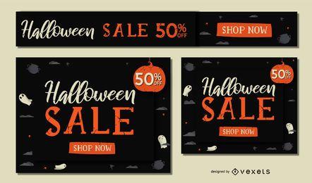 Conjunto de banner de venda de Halloween