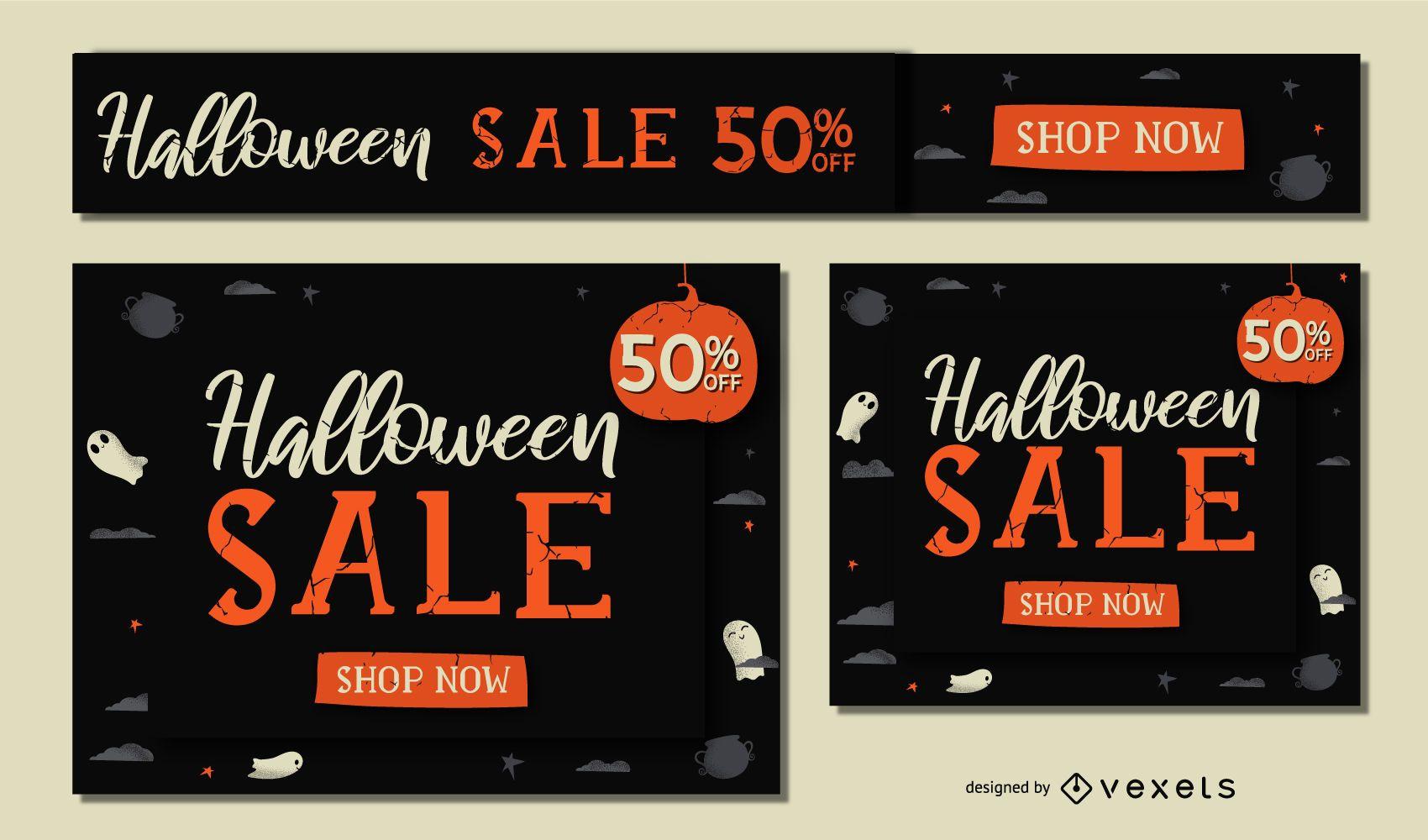 Halloween sale banner set
