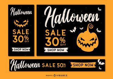 Conjunto de banner de halloween de venta espeluznante