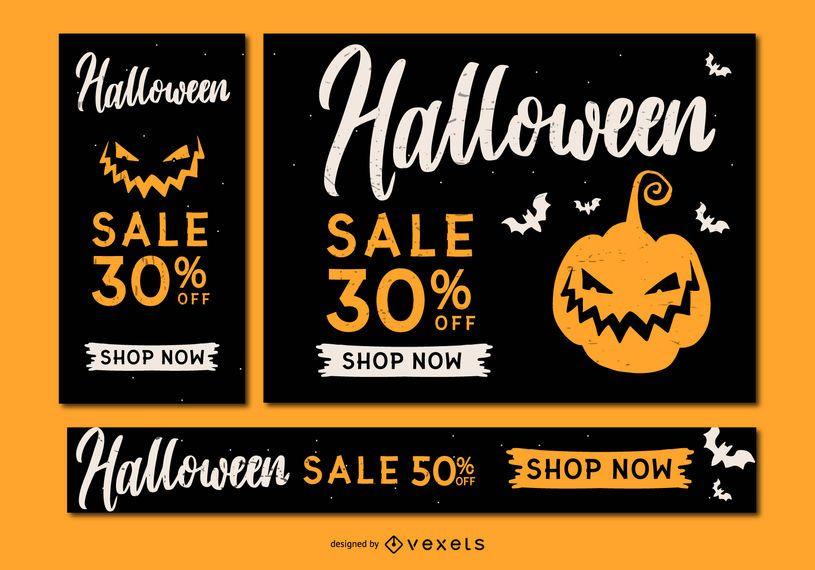 Conjunto de banner de halloween assustador venda