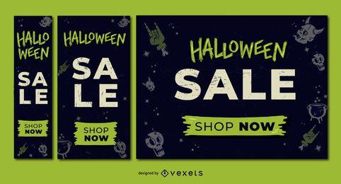 Conjunto de banner de descuento de venta de Halloween