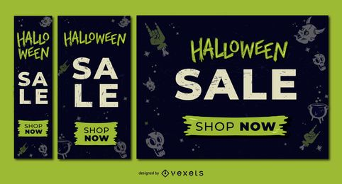 Halloween sale discount banner set