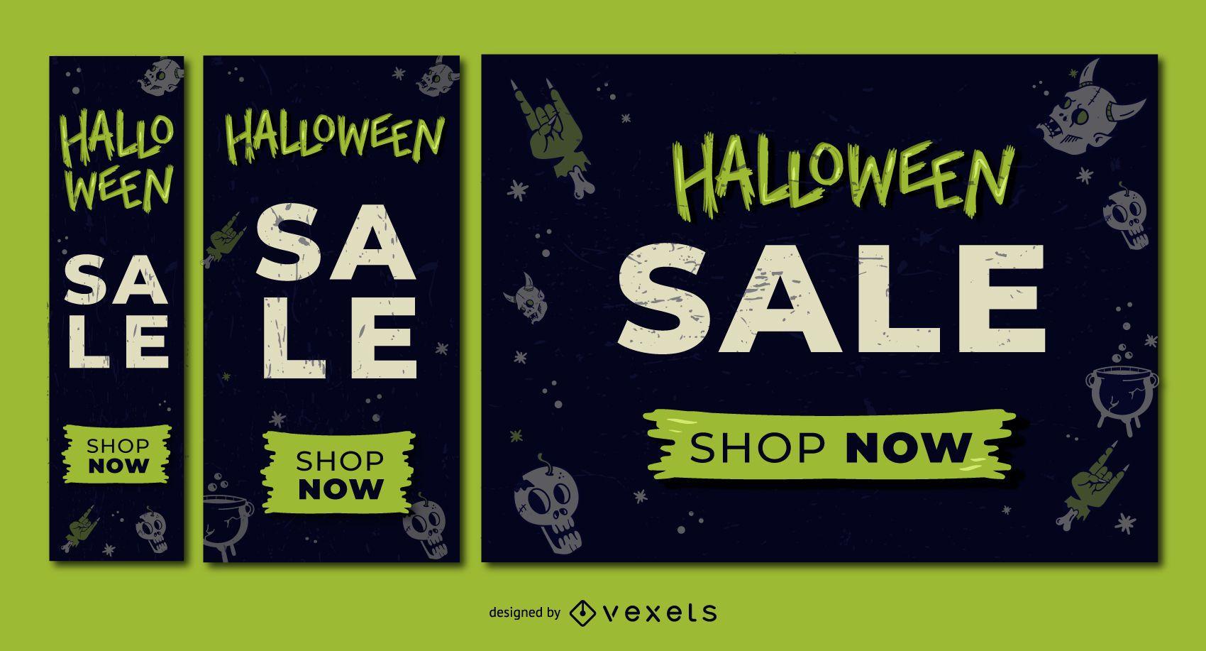Halloween sale discount banner set