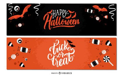 Halloween candies banner set