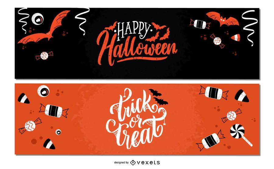 Halloween candies banner set