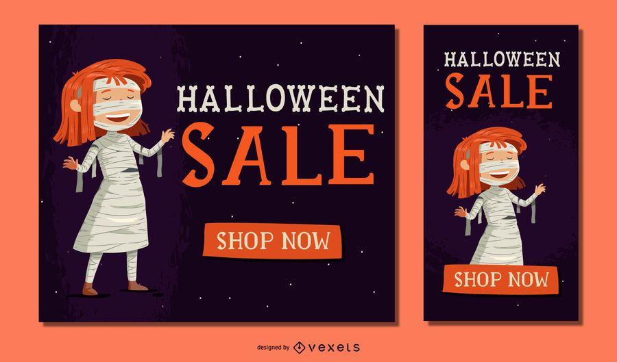 Banner de venta de momia de niña de Halloween