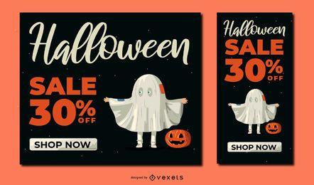 Conjunto de banner de descuento de Halloween