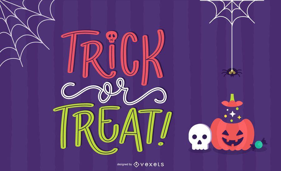 Trick or Treat Lettering Background Design