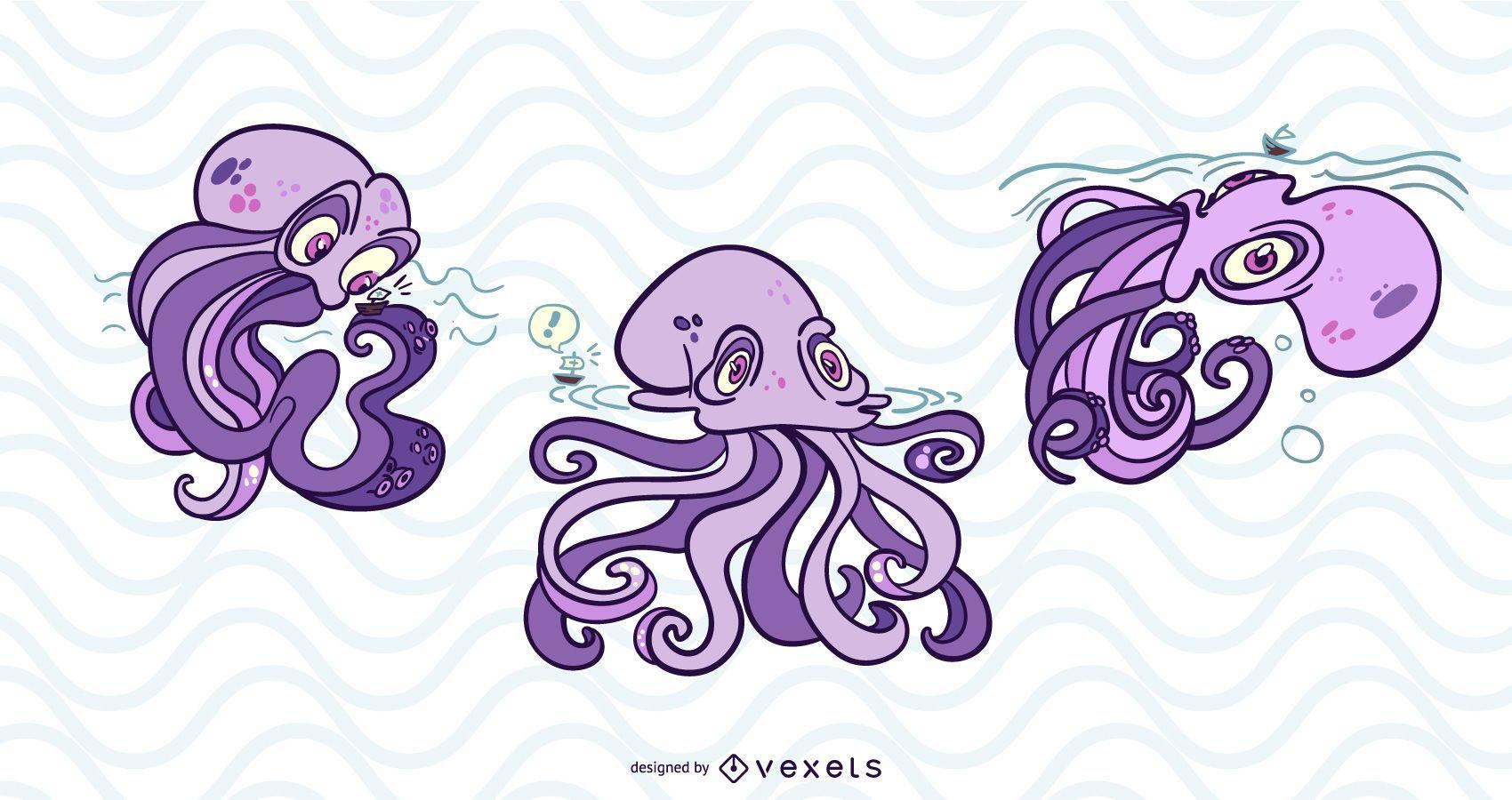 Conjunto de ilustración de monstruo Kraken